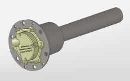 Detail A: Probe. Sensor stainless steel di dalam drum menghasilkan data slump (kekentalan), temperature, kelembapan, dan kecepatan rotasi drum pencampur, juga menginfokan bila campuran telah homogen.